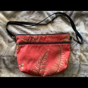 Embroidered Red Purse, Leaf Design